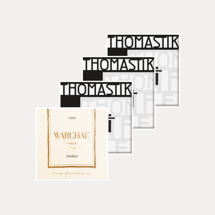 PACK VIOLIN STRINGS SET WARCHAL AMBER & THOMASTIK TI
